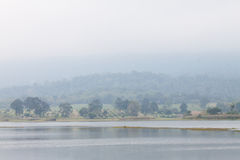 Landscape of forest  and the reservoir,Thailand Royalty Free Stock Images