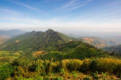 Landscape of forest in sierra that some part was deforestation by human. Nan, Northern of Thailand Royalty Free Stock Photography