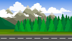 The landscape of forests, mountains and roads. Royalty Free Stock Photos