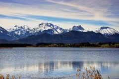 Landscape of Forggensee lake in Germany royalty free stock photo