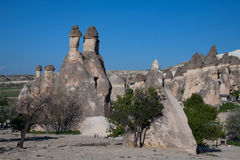Landscape form of weathering of volcanic tuffs. Royalty Free Stock Photography
