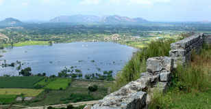 Landscape with fort wall and lake Royalty Free Stock Image