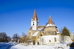 Landscape with fortified church Stock Images