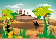 Landscape-fortress in the desert, palm and wild animals Stock Photo