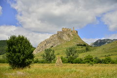 Landscape with fortress, tree, haystack  and meadow Royalty Free Stock Photo