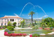 Landscape with fountain. colorful flowers Royalty Free Stock Photography