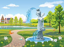Landscape with a fountain Girl with vase. Beautiful landscape with a fountain Girl with a jug Royalty Free Stock Photography