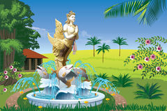 Landscape with a fountain with a gold bird-girl. Beautiful tropical landscape with a fountain with a gold bird-girl Stock Image