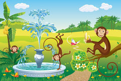 Landscape with a fountain and a monkey. Vector landscape with a fountain and three monkeys Stock Image