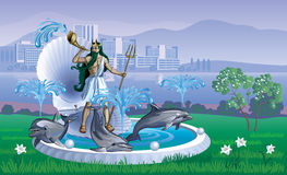 Landscape with a fountain of Neptune. Vector landscape with fountain of Neptune and dolphins Royalty Free Stock Image