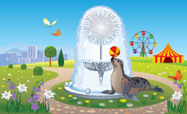 Landscape with a fountain and a seal. Vector landscape Park with a fountain and a circus seal Royalty Free Stock Images