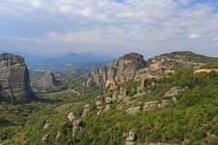 Landscape with four monasteries of Meteora Royalty Free Stock Images