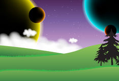 Landscape  with four planets Stock Photo