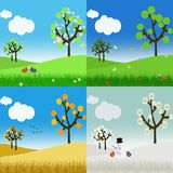 Landscape in the four seasons Stock Photos