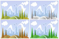 Landscape in four seasons Royalty Free Stock Photos