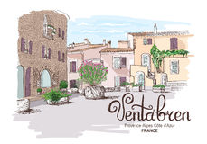 Landscape France vector watercolor drawing Stock Images