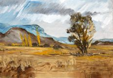 Landscape Freestate. Oil painting of a landscape in the Free State Royalty Free Stock Photography
