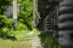 Landscape with a freight train. Railway carriage Royalty Free Stock Photos