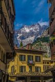 Landscape of French Alps in Rhone Alpes. Courmayeur in val d `aoste,italy stock photos