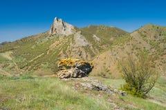 Landscape with Frog mountain near Sudak town on a Black Sea shore, Crimean peninsula Stock Photos