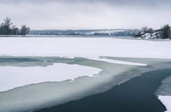 Landscape with frozen Dnepr river near Dnepropetrovsk city, Ukraine Royalty Free Stock Images