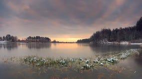 Landscape of frozen lake Royalty Free Stock Photos