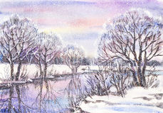 Landscape with frozen river. Watercolor painting: russian winter landscape with frozen river Royalty Free Stock Image