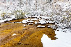 Landscape of frozen stream Stock Photo
