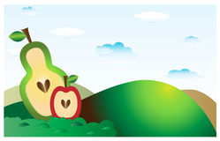 Landscape with fruit 1 Royalty Free Stock Image