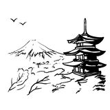 Landscape with Fuji mount, sakura tree and Japan  pagoda illustration Royalty Free Stock Photos