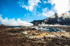Landscape with fumaroles in Iceland. In a sunny day Stock Image