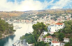 Landscape of Gaios Paxos island Greece royalty free stock image