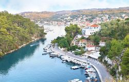 Landscape of Gaios Paxos island Greece stock photography