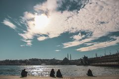 Landscape from galata bridge, Istanbul. Landscape from galata bridge with mosque view in Istanbul, Turkey royalty free stock photo