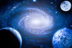 Landscape galaxy. Planet, Earth, moon view from space with Milky way galaxy. Elements of this image furnished by NASA royalty free stock photography
