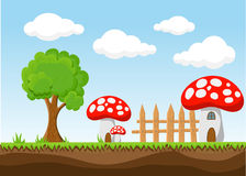 Landscape for game.Background for game. Seamless cartoon landscape.  unending background. Royalty Free Stock Photography