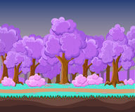 Landscape for game.Background for game. Seamless cartoon landscape.  unending background. Stock Photo