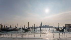 Landscape of gandola`s marina in Venice Stock Photo