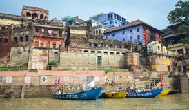 Landscape of the Ganges Riverbank. Varanasi, India - Jul 12, 2015. Ghats on the Ganges Riverbank in Varanasi, India. Varanasi, once known as Benares or Banaras Stock Images