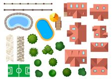 Landscape, garden and architectural elements. With houses swimming pools treetops bushes steps and borders isolated on white Royalty Free Stock Photo