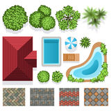 Landscape garden design vector elements top view Stock Photos