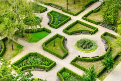 Landscape gardening - aerial view to the beautiful park Stock Image