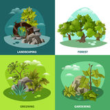 Landscape Gardening 4 Flat Icons Concept Stock Photo