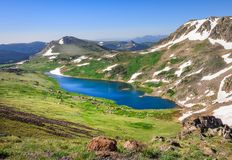 Landscape of Gardner Lake, Beartooth Pass. Peaks of Beartooth Mountains, Shoshone National Forest, Wyoming, USA. stock photos