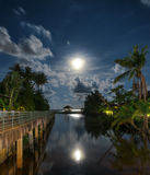 Gazebo and moon in waters reflection Stock Images