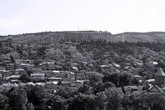 Landscape Georgian capital. Black-and-white picture of Tbilisi - view from above royalty free stock photo