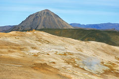 Landscape in the geothermal area Hverir Royalty Free Stock Images