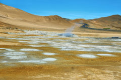 Landscape in the geothermal area Hverir Royalty Free Stock Photography