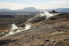 Landscape in the geothermal area Hverir Royalty Free Stock Photos