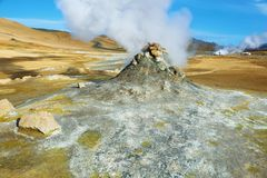 Landscape in the geothermal area Hverir Royalty Free Stock Photo